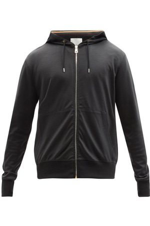 Paul Smith Artist-stripe Zipped Wool Hooded Sweatshirt - Mens - Dark Grey