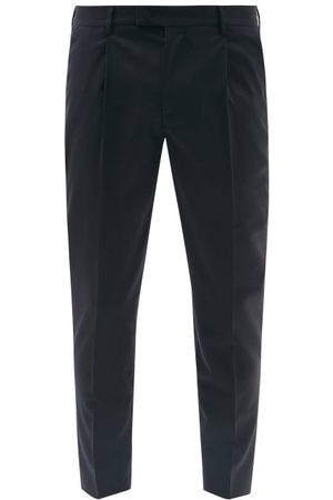 BARENA Men Pants - Titanane Wool-blend Sharkskin Suit Trousers - Mens - Navy