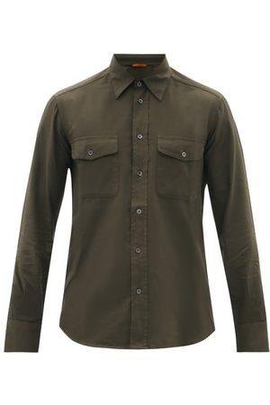 BARENA Deca Flap-pocket Cotton-canvas Shirt - Mens - Dark Khaki