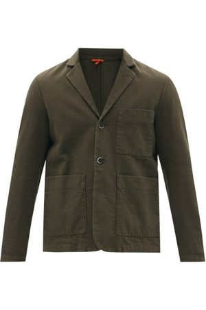 BARENA Refada Single-breasted Cotton-twill Blazer - Mens - Dark Khaki