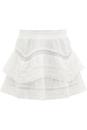 LOVESHACKFANCY Abrielle Lace-insert Cotton-voile Mini Skirt - Womens