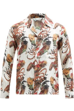 Nipoaloha Cockerel-print Silk Shirt - Mens - Multi