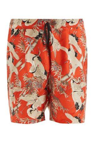 Nipoaloha Cranes In The Bamboo Silk Shorts - Mens - Multi