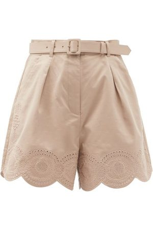 Self-Portrait Women Shorts - Portrait - Broderie Anglaise Scalloped Cotton Shorts - Womens - Light