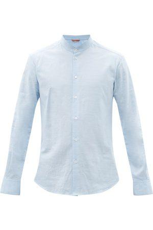 BARENA Naci Stand-collar Cotton-oxford Shirt - Mens - Light
