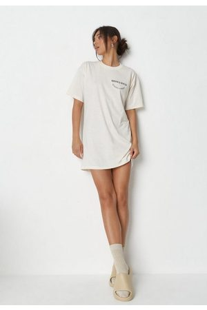 Missguided Women Casual Dresses - Stone Graphic Oversized T Shirt Dress