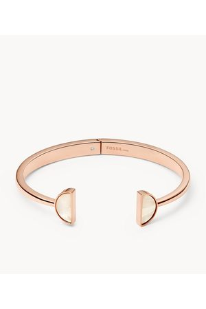 Womens Women Bracelets - Fossil Women's White Stainless Steel Bangle Bracelet