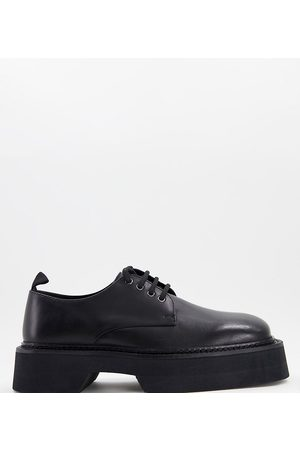 ASOS Wide Fit lace up square toe shoes in leather chunky sole