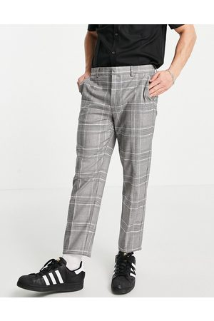 River Island Tapered smart pants in check-Grey