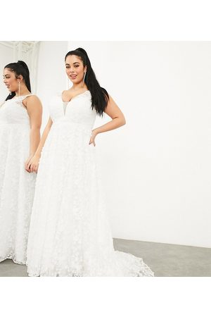 ASOS Curve Florence sleeveless embroidered wedding dress with plunge