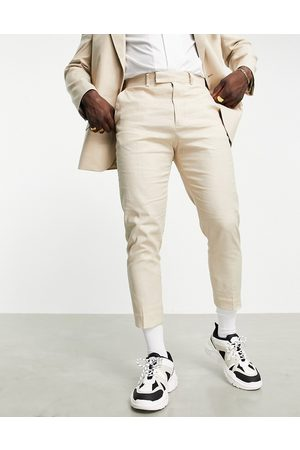 ASOS Tapered suit pants in neutral linen mix