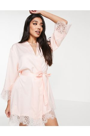 Loungeable Satin robe with lace trim in pale