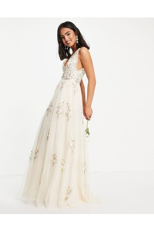 Needle & Thread Bridal Petunia maxi dress with floral embroidery in ivory