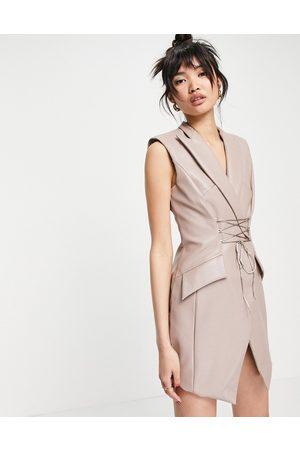 ASOS PU sleeveless tux mini dress with corset tie detail-Neutral