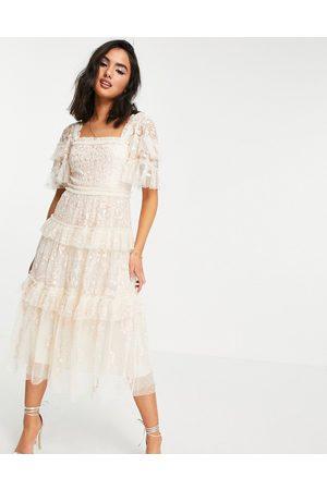 Needle & Thread Arwen midi milk maid dress with lace in