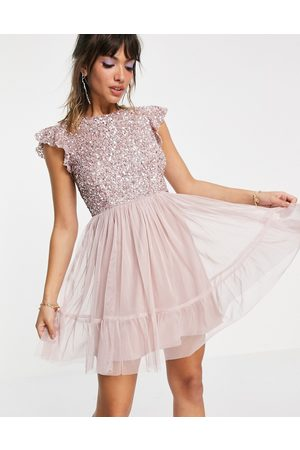 Maya Embellished top mini dress in frosted