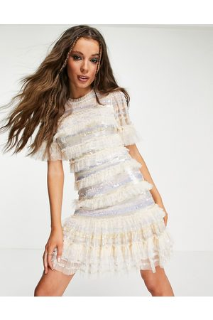 Needle & Thread Ariana mini dress with striped sequins and ruffles in ivory