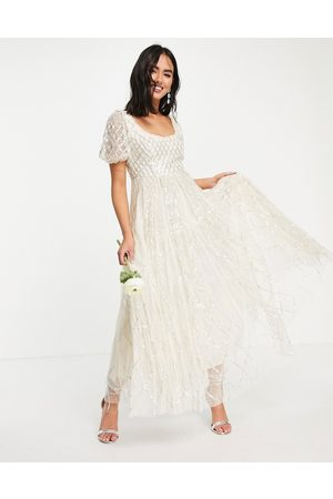 Needle & Thread Bridal midaxi dress in ivory with gingham embellishment
