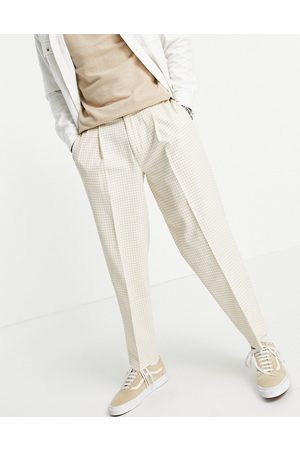ASOS Oversized tapered smart pants in stone gingham-Neutral