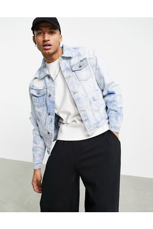 Liquor N Poker Oversized denim jacket blue with all-over water print-Blues