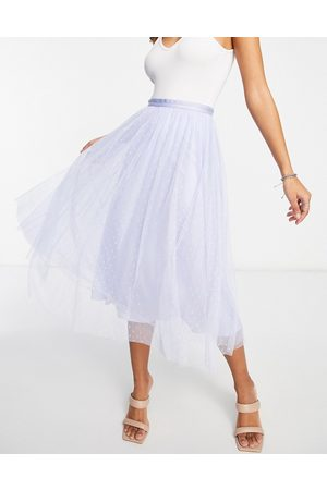 Needle & Thread Kisses tulle midaxi coordinating skirt in dusty blue-Blues