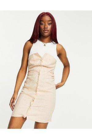 ASOS Jersey tank button through sleeveless linen mini dress in -Neutral