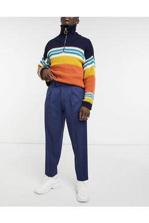 ASOS Men Chinos - Oversized tapered smart pants in navy