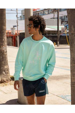 adidas Summer Club' hand drawn graphic oversized sweatshirt in icy mint