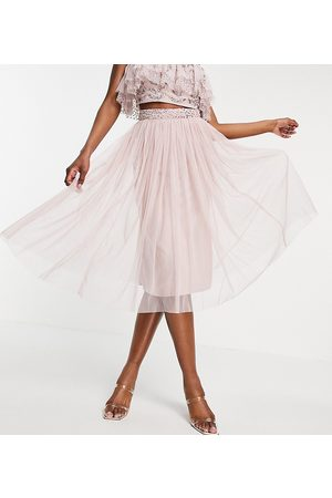 Maya Tulle midi skirt with slit in frosted - part of a set