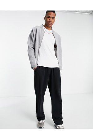 ASOS Oversized jersey bomber jacket in heather-Grey
