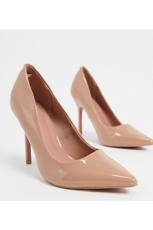 ASOS Wide Fit Phoenix pointed high heeled pumps in patent-Neutral