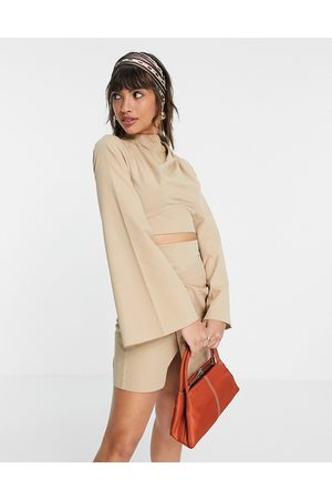 ASOS Long sleeve top in cotton twill set-Neutral