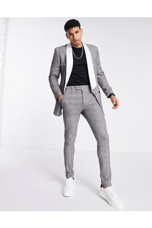 ASOS Skinny puppytooth check tuxedo suit pants-Multi