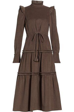 Anna Mason Women's Christy Drawstring Midi Dress - Taupe - Size 2