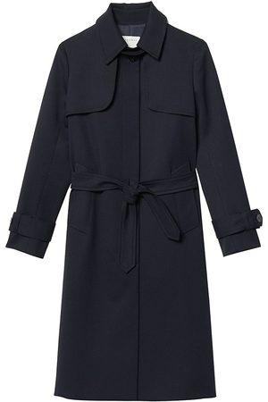 Sandro Women's Pleated Inset Trench Coat - Navy - Size 4