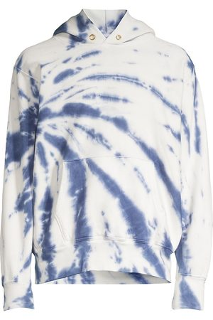 Les Tien Men's Tie-Dye Cropped Hoodie - Navy Ivory - Size Small