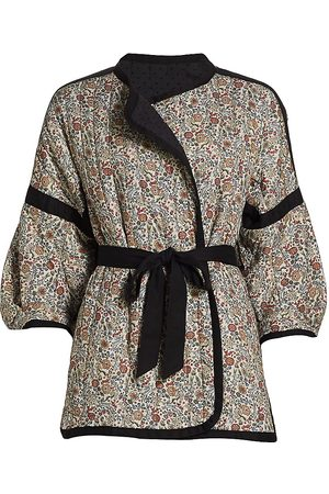 Anna Mason Women's Claire Belted Floral Jacket - Bunny Print - Size 10