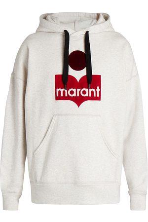 Isabel Marant Men's Miley Logo Drawstring Hoodie - Ecru - Size Small