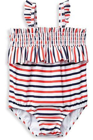 Janie and Jack Baby Girl's Ruffle Stripe One-Piece Swimsuit - Size Newborn