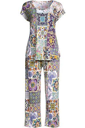JOHNNY WAS Women's Morocco Print 2-Piece Crop Pajama Set - Size XL