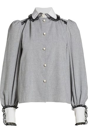 Anna Mason Women's Pandora Lace-Trimmed Blouse - Grey - Size 8