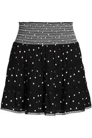 ALICE+OLIVIA Women's Annabeth Polka Dot Smocked Mini Skirt - Cutie Polka Dot - Size Large