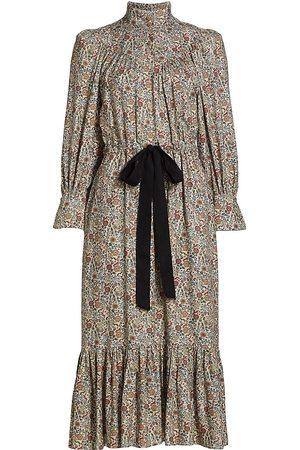 Anna Mason Women's Claudette Belted Midi Dress - Bunny Print Base - Size 10