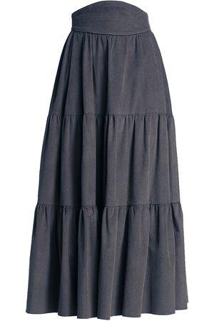 Anna Mason Women's Tati Tiered Midi Skirt - Jean - Size 4