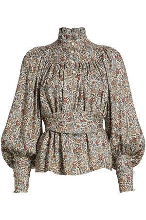 Anna Mason Women's Kasia Belted Blouse - Bunny Print Base - Size 10