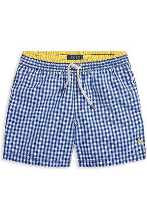 Ralph Lauren Little Boy's & Boy's Gingham Swim Trunks - Pacific Royal - Size 8