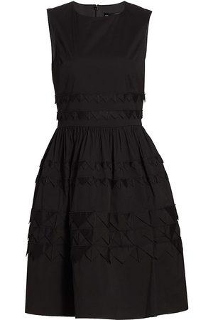 Oscar de la Renta Women's Sleeveless Triangle-Detail Fit-&-Flare Dress - - Size 8