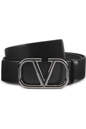 VALENTINO GARAVANI Men's Logo Leather Belt - Nero Gunmetal - Size 36