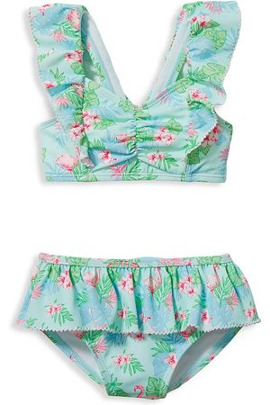 Janie and Jack Baby's, Little Girl's & Girl's Flamingo 2-Piece Swimsuit - Aqua - Size 12 Months