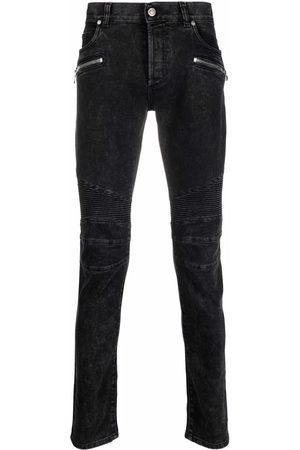 Balmain Men Skinny - Ribbed-detailing skinny jeans